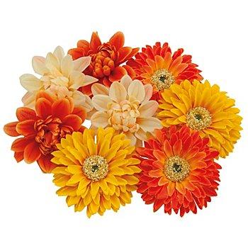 Boutons de fleurs, jaune/orange, 7 cm Ø, 8 pièces