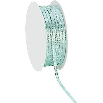Ruban en satin 3 mm, vert menthe/argent, 20 m