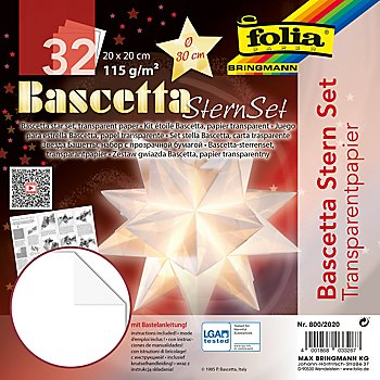 Folia Transparentpapier-Faltblätter 'Bascetta-Stern', weiss, 20 x 20 cm, 32 Blatt