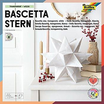 Folia Transparentpapier-Faltblätter 'Bascetta-Stern', weiß, 20 x 20 cm, 32 Blatt