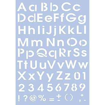 Schablone 'Alphabet Druckbuchstaben', 0,4 - 3,5 cm