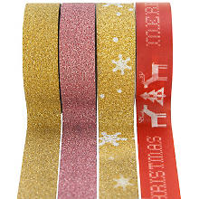 Washi-Tape & Glitter-Tape, rouge/or, 15 mm, 23 m