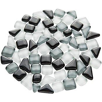 Tesselles en verre doux, tons gris, 10 - 20 mm, 200 g