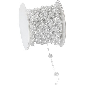 Perlenschnur, weiss, 6 mm, 15 m