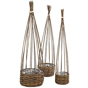 Weiden-Pflanzkörbe-Set, 60 cm, 63 cm und 66 cm, 3 Stück