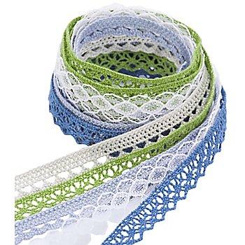 Bortenpaket, grün-blau, 10–15 mm, 5x 1 m