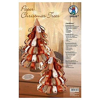 Sapins de Noël en papier au style scandinave, rouge/blanc
