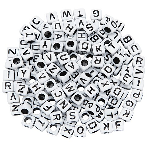 Image of Buchstabenwürfel, weiss-schwarz, 6 mm, 160 Stück