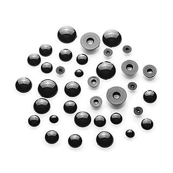 Halbperlen Tieraugen, schwarz, 6–14 mm, 36 Stück