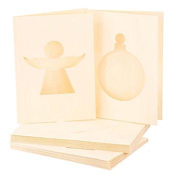 Passepartoutkarten 'Engel & Weihnachtskugel', creme, A6/C6, je 10 Stück