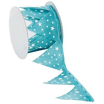 Stoffband Ziehstern 'Sterne', türkis-weiß, 5 cm, 2,5 m