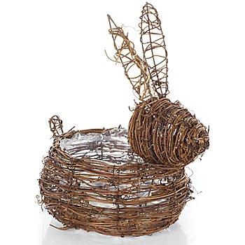 Corbeille en sarment de vigne 'lapin', 24 x 15,5 x 28 cm
