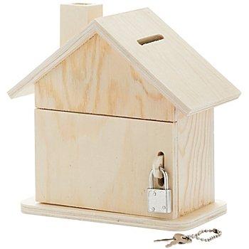 Spardose 'Haus' aus Holz