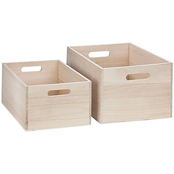 Holz-Kisten mit Tragegriffen, 36 x 26 x 19 cm und 32 x 22 x 15 cm, 2 Stück