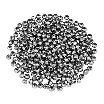 Facettierte Glasperlen, silber, 4 mm, 300 Stück