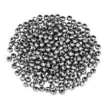 Perles en verre à facettes, 4 mm, argent, 300 pièces