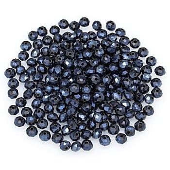 Perles en verre à facettes, 6 mm, bleu, 200 pièces