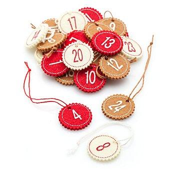 Adventskalender-Zahlen, rot-braun-creme