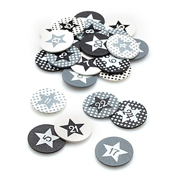 Chiffres en bois pour calendrier de l'Avent, blanc/noir/gris, 3 cm