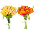 Bouquets de tulipes artificielles, jaune/orange, 20 cm