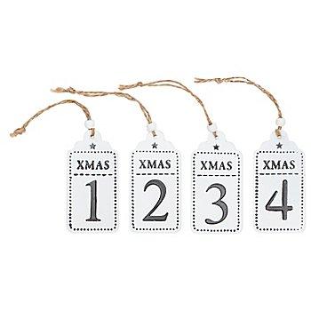 Adventszahlen 1 - 4, aus Metall