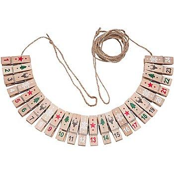 Chiffres pour calendrier de l´Avent 'pinces', rouge/blanc/vert/marron