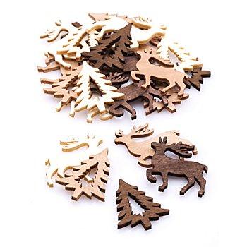Streuteile 'Rentier und Tanne', 4 cm, 24 Stück