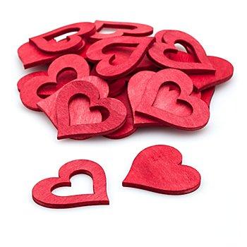 Motifs déco 'coeurs', rouge, 4 cm, 24 pièces