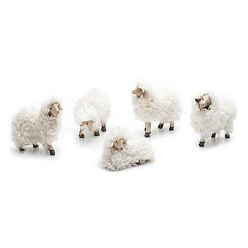 Woll-Schafe, weiß, 5 - 6 cm, 5 Stück