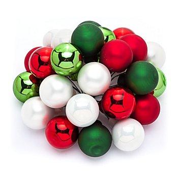 Weihnachtskugeln am Draht, rot, grün, weiß, 2 cm Ø, 24 Stück