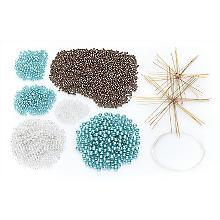 Drahtsterne-Set, weiß-türkis-braun, 10 Stück