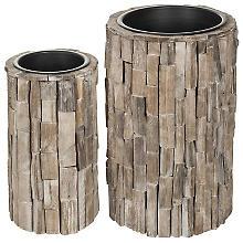 Übertöpfe aus Holz, 54,5 cm und 44,5 cm, 2 Stück