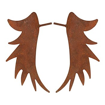 Rost-Engelsflügel aus Metall, braun, 18 cm, 1 Paar