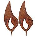 Flammes en métal aspect rouille, 10 cm, 2 pcs.