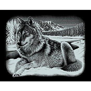 Kratzbild 'Wolf', 25 x 20 cm