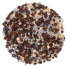 Holzperlenmischung, braun-silber, 80 g