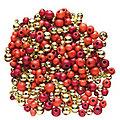 Perles en bois et perles métalliques, rouge/or, 80 g