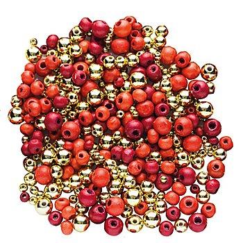 Perles en bois et perles métalliques, rouge/doré, 80 g