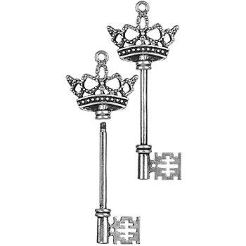 Anhänger 'Schlüssel', silber, 2 Stück