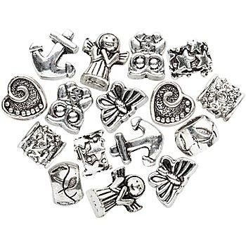 Perles à grand trou, argent, 16 pièces