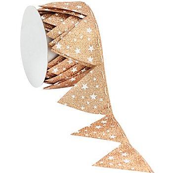 Stoffband Ziehstern, kupfer-weiss, 5 cm, 2,5 m