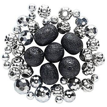 Perlenmix schwarz-silber-Glitzer, 5 - 15 mm, 45 Stück