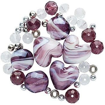 Set de perles, rose/bordeaux