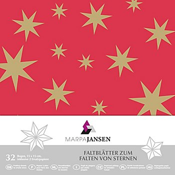 Faltblätter 'Stern', rot-gold, 15 x 15 cm, 32 Blatt