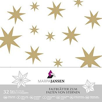 Faltblätter 'Stern', weiss-gold, 15 x 15 cm, 32 Blatt