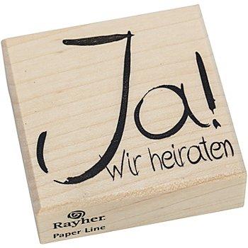 Holzstempel 'Ja! Wir heiraten', 4,8 x 5,5 cm