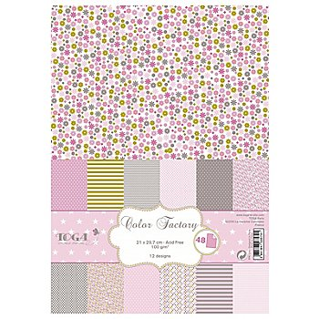 Papierset, rosa-grau, 21 x 29,7 cm, 48 Blatt