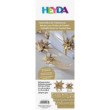 Papierstreifen-Set Fröbelsterne, gold-weiß, 96 Streifen