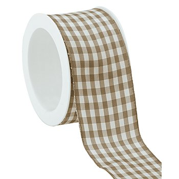 Stoff-Karoband, taupe, 40 mm, 5 m