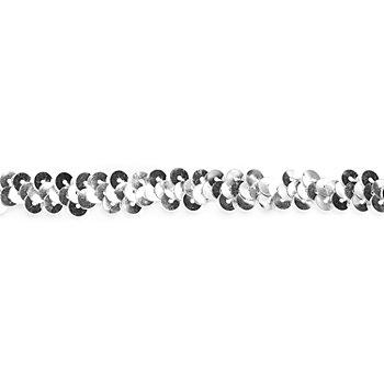 Elastik-Paillettenband, silber, Breite: 10 mm, Länge: 3 m